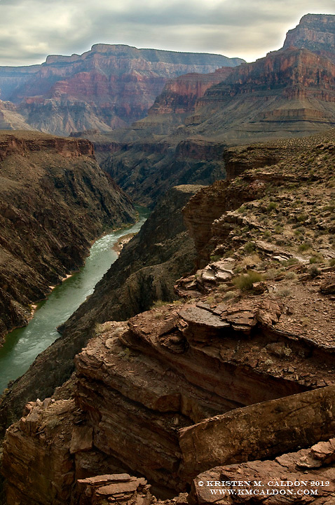 The Tonto Trail (90+miles) stays about 1/2way in the Canyon and offers spectacular views of the Colorado River below, as well as towering cliffs above!