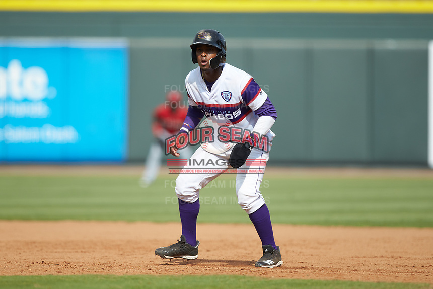 Yeyson Yrizarri (2) of the Winston-Salem Rayados takes his lead off of first base against the Potomac Nationals at BB&T Ballpark on August 12, 2018 in Winston-Salem, North Carolina. The Rayados defeated the Nationals 6-3. (Brian Westerholt/Four Seam Images)