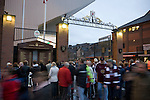 Northampton Town and Liverpool fans standing next to the Hillsborough memorial outside the Shankly Gates at Anfield, before the team's Carling Cup third round tie away to Liverpool. The visitors from English League 2 defeated Premier League Liverpool on penalty kicks after a 2-2 draw after extra time in one of the biggest shock results in either clubs histories.