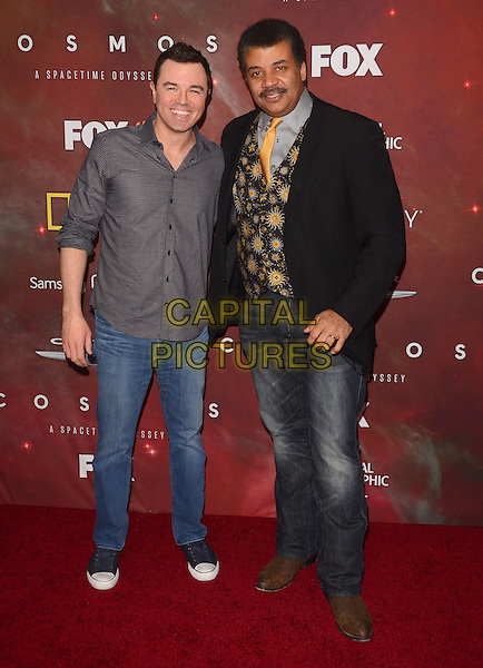 04 March 2014 - Los Angeles, California - Seth MacFarlane, Neil deGrasse Tyson.  &quot;Cosmos: A Spacetime Odyssey&quot; Premiere Screening at The Greek Theater in Los Angeles. <br /> CAP/ADM/BT<br /> &copy;Birdie Thompson/AdMedia/Capital Pictures