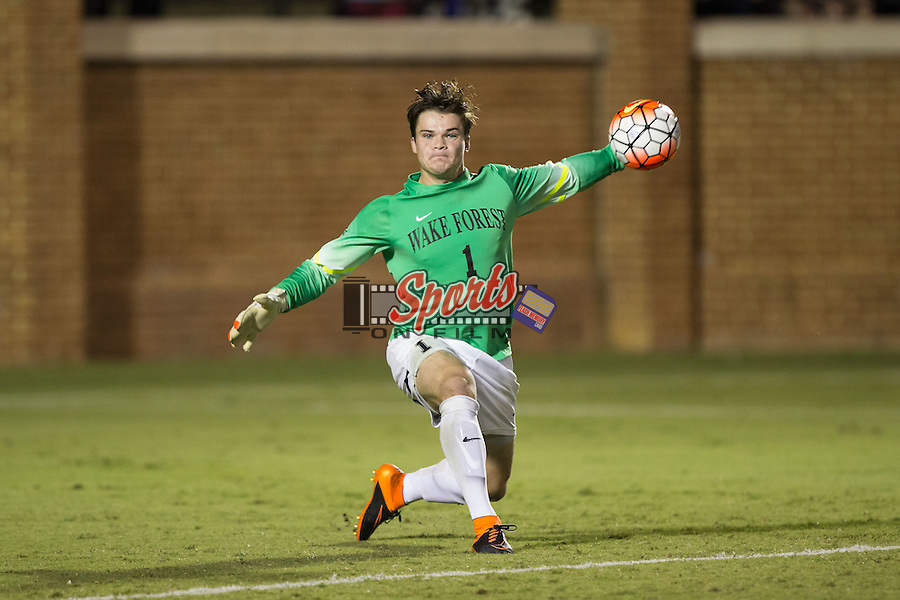 Andrew Harris (1) of the Wake Forest Demon Deacons throws the ball to a teammate during second half action against the Elon Phoenix at Spry Soccer Stadium on September 15, 2015 in Winston-Salem, North Carolina.  The Phoenix defeated the Demon Deacons 1-0.  (Brian Westerholt/Sports On Film)