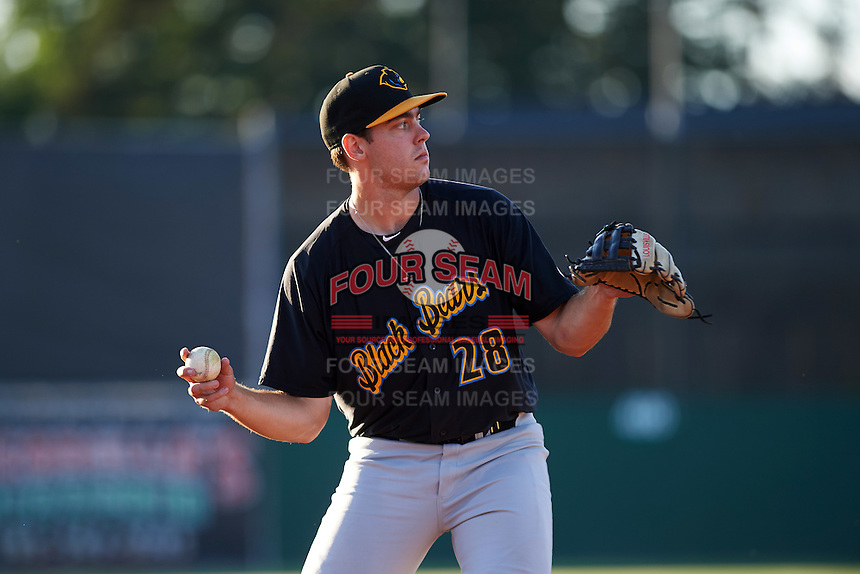 West Virginia Black Bears third baseman Will Craig (28) throws to first base during a game against the Batavia Muckdogs on June 29, 2016 at Dwyer Stadium in Batavia, New York.  West Virginia defeated Batavia 9-4.  (Mike Janes/Four Seam Images)