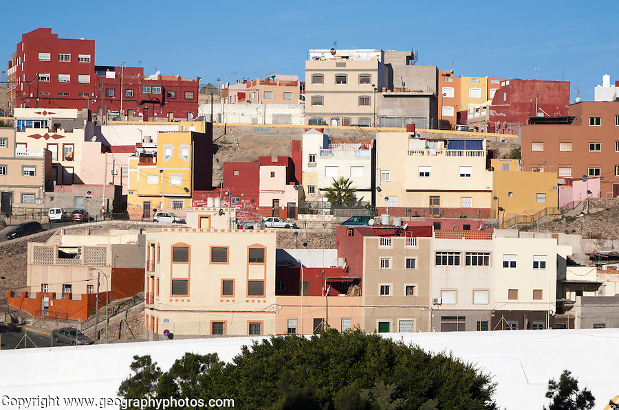 Housing in Melilla autonomous city state Spanish territory in north Africa, Spain