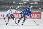Uppsala 2014-01-12 Bandy  IK Sirius - GAIS Bandy :  <br /> Sirius Max Eriksson i kamp om bollen med GAIS Tobias Andersson i sn&ouml;v&auml;dret<br /> (Foto: Kenta J&ouml;nsson) Nyckelord: