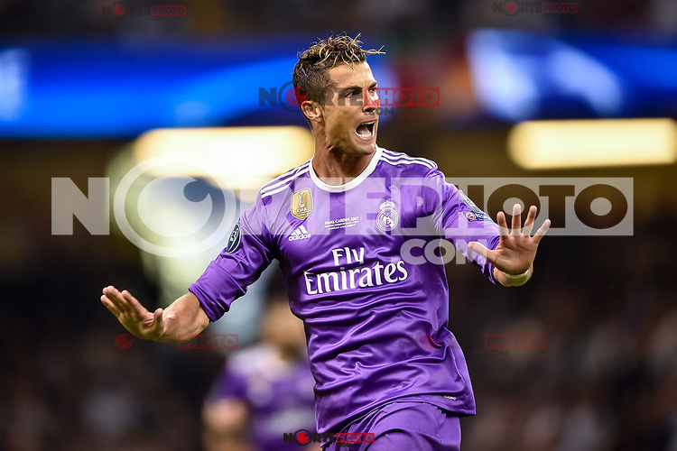 Cristiano Ronaldo of Real Madrid celebrates scoring the opening goal during the UEFA Champions League Final match between Real Madrid and Juventus at the National Stadium of Wales, Cardiff, Wales on 3 June 2017. Photo by Giuseppe Maffia.<br /> <br /> Giuseppe Maffia/UK Sports Pics Ltd/Alterphotos /nortephoto.com