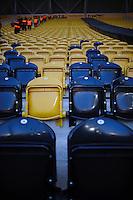 Fussball 2. Bundesliga Saison 2011/2012 13. Spieltag Dynamo Dresden - Karlsruher SC Das Bild zeigt leere gelbe und schwarze Sitze im Dresdener Gluecksgas Stadion. Dresden droht nach den Ausschreitungen beim Pokalspiel in Dortmund eine Strafe seitens des DFB.
