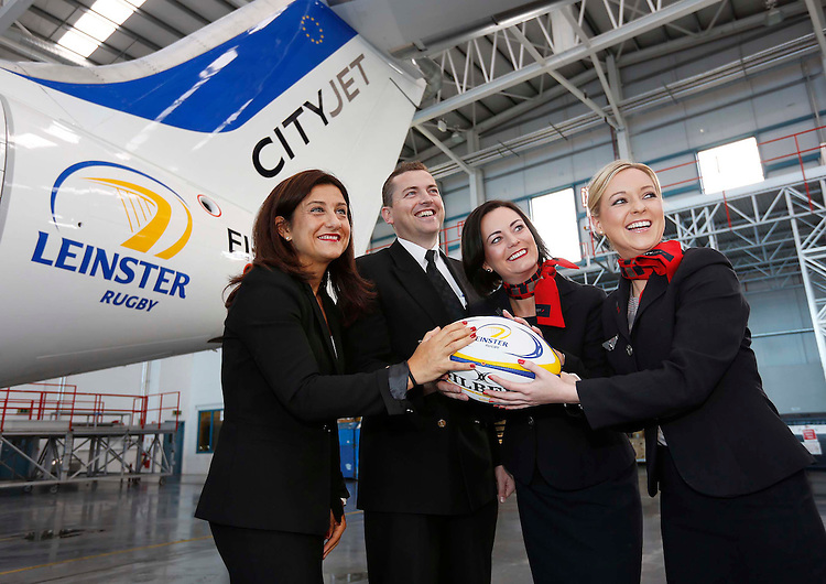 No Repro Fee..30.07.2012.Christine Oumieres, Chief Executive Officer of CityJet (left) with staff members, Captain Edward Woolley, Niamh Murray and Janice Carolan (right) pictured at the Announcement of CityJet's sponsorship of the Leinster rugby team ahead of the rugby season this Friday.Pic. Robbie Reynolds/CPR