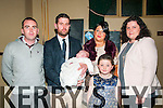 Baby Jack McCarthy with his parents Ian & Deidre McCarthy, Moyvane and god parents Raymond McCarthy & Tina Shaltz and sister Aoibhin who was christened in Moyvane Church by Fr. Lucid on Saturday last and afterwards at the Kingdom Bar, Listowel.