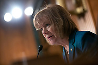 United States Senator Tina Smith (Democrat of Minnesota) speaks as Judy Shelton and Dr. Christopher Waller, nominees to be on the Board of Governors of the Federal Reserve System, testify before the U.S. Senate Committee on Banking, Housing, and Urban Affairs at the United States Capitol in Washington D.C., U.S., on Thursday, February 13, 2020.<br /> <br /> Credit: Stefani Reynolds / CNP/AdMedia
