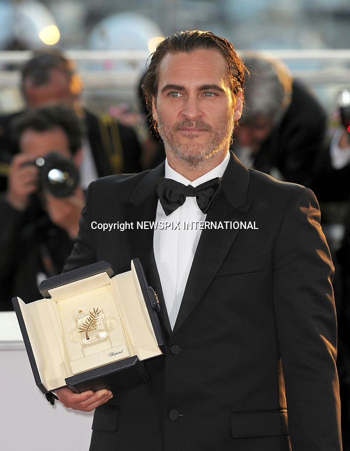 28.05.2017; Cannes, France: JOAQUIN PHOENIX<br /> winner of the Best Actor Award for his role in Lynne Ramsay&rsquo;s &quot;You Were Never Really Here&quot; at the 70th Cannes Film Festival, Cannes<br /> Mandatory Credit Photo: &copy;NEWSPIX INTERNATIONAL<br /> <br /> IMMEDIATE CONFIRMATION OF USAGE REQUIRED:<br /> Newspix International, 31 Chinnery Hill, Bishop's Stortford, ENGLAND CM23 3PS<br /> Tel:+441279 324672  ; Fax: +441279656877<br /> Mobile:  07775681153<br /> e-mail: info@newspixinternational.co.uk<br /> Usage Implies Acceptance of Our Terms &amp; Conditions<br /> Please refer to usage terms. All Fees Payable To Newspix International