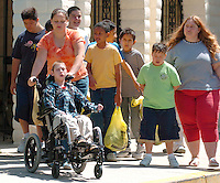Roosevelt middle school students head back to school after a swim at the therapy pool.