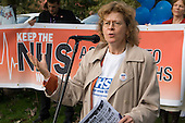 Tina MacKay, London Regional Officer for Amicus, adresses a really against cuts in the NHS and privitisation of the health service, Oxford