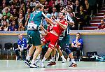 Stockholm 2013-11-10 Handboll Elitserien Hammarby IF - Eskilstuna Guif :  <br /> Eskilstuna Guif Alexander Stenb&auml;cken f&aring;ngas upp av Hammarby 7 Patrik Lindblad och Hammarby 2 Jonatan Wenell <br /> (Foto: Kenta J&ouml;nsson) Nyckelord:
