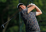 Cromwell, CT-22 JUNE 22 2018-062219MK23 Keegan Bradley hits from the 18th tee Saturday afternoon during the third round of the 2019 Travelers Championship at the TPC River Highlands in Cromwell. Bradley finished one under par with a score of 69 and in second place to start the final round. Michael Kabelka / Republican-American