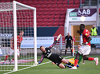 22nd July 2020; Ashton Gate Stadium, Bristol, England; English Football League Championship Football, Bristol City versus Preston North End; Famara Diedhiou of Bristol City shoots and scores in 48th minute 1-1