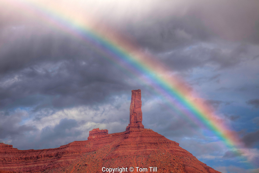 Castle rock and rainbow, Utah Also called Castleton Tower, Proposed La Sal Waters Wilderness