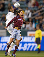 LA Galaxy midfielder Peter Vagenas (8) and  Colorado Rapids defender Rafael Gomez (3) battle in the air for a ball in the box late in the second half. The Colorado Rapids defeated the LA Galaxy 1-0 during the preliminary rounds of the 2008 US Open Cup at Home Depot Center stadium in Carson, Calif., on Tuesday, May 27, 2008.