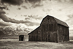 An abandoned barn sits in Grand Teton National Park.