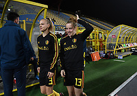20191108 - Zapresic , BELGIUM : Belgian Sarah Wijnants and Elena Dhont pictured during the female soccer game between the womensoccer teams of  Croatia and the Belgian Red Flames , the third women football game for Belgium in the qualification for the European Championship round in group H for England 2021, friday 8 th october 2019 at the NK Inter Zapresic stadium near Zagreb , Croatia .  PHOTO SPORTPIX.BE | DAVID CATRY