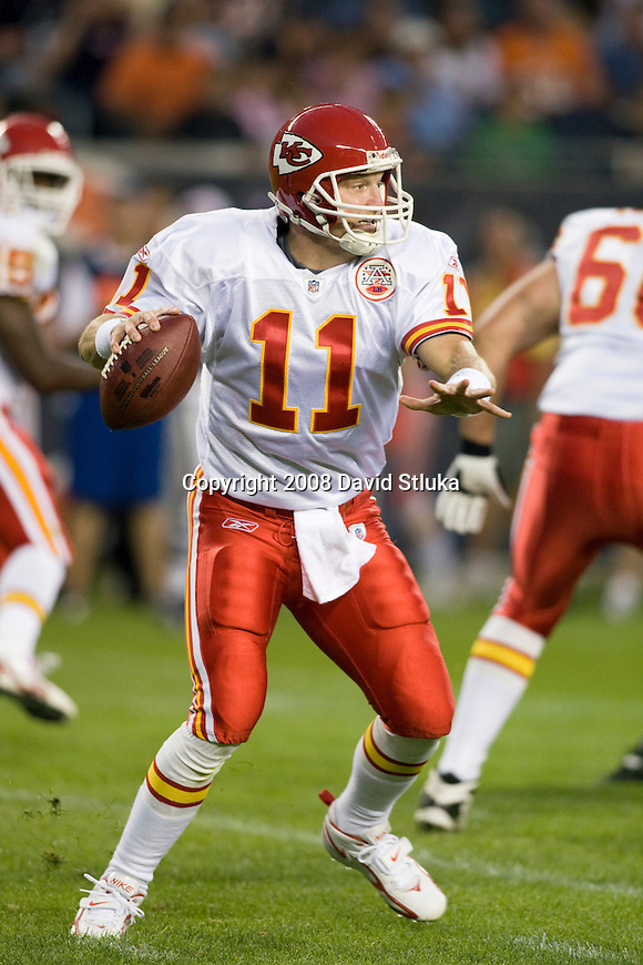 CHICAGO - AUGUST 7: Quarterback Damon Huard #11 of the Kansas City Chiefs looks for a receiver against the Chicago Bears at Soldier Field on August 7, 2008 in Chicago, Illinois. The Chiefs defeated the Bears 24-20. (AP Photo/David Stluka)