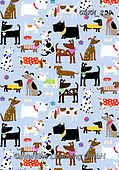 Kate, GIFT WRAPS, GESCHENKPAPIER, PAPEL DE REGALO, paintings+++++Dogs in bandanas,GBKM258,#gp#, EVERYDAY