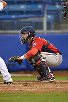 Potomac Nationals catcher Jakson Reetz (12) waits to receive a pitch during the first game of a doubleheader against the Salem Red Sox on June 11, 2018 at Haley Toyota Field in Salem, Virginia.  Potomac defeated Salem 9-4.  (Mike Janes/Four Seam Images)