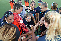 Cary, North Carolina  - Saturday August 05, 2017: North Carolina Courage players huddle prior to a regular season National Women's Soccer League (NWSL) match between the North Carolina Courage and the Seattle Reign FC at Sahlen's Stadium at WakeMed Soccer Park. The Courage won the game 1-0.