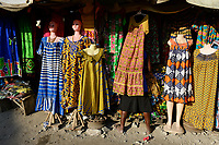TOGO, Lome, Grande Marche, Grand Market, sale of textiles made in china / Grosser Markt, Textilmarkt, Verkauf von Kleidung made in china