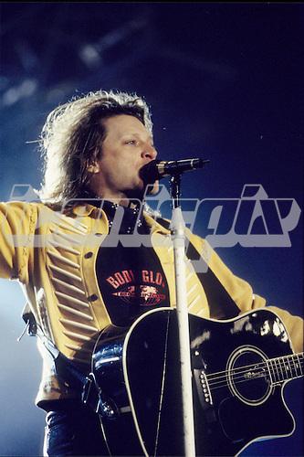 Bon Jovi - vocalist Jon Bon Jovi performing live at Wembley Stadium in London UK - 24 Jun 1995.  Photo credit: George Chin/IconicPix