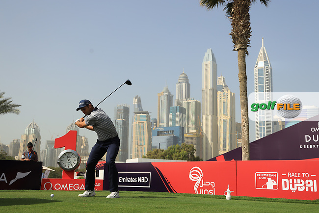 Adri Arnaus (ESP) in action during the third round of the Omega Dubai Desert Classic, Emirates Golf Club, Dubai, UAE. 26/01/2019<br /> Picture: Golffile | Phil Inglis<br /> <br /> <br /> All photo usage must carry mandatory copyright credit (© Golffile | Phil Inglis)