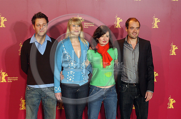 ".BERLIN - GERMANY 10. FEBRUARY 2006 -- FilmFestival - Berlinale 2006 A Soap (Original Title: En Soap). Danish actress Trine Dyrholm, 2nd from left,  with actors David Dencik, left, Frank Thiel, right, and film director Pernille Fischer Christensen. -- PHOTO: GORM K. GAARE / EUP- IMAGES ..This image is delivered according to terms set out in ""Terms - Prices & Terms"". (Please see www.eup-images.com for more details)."