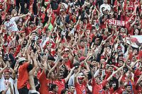 BOGOTÁ - COLOMBIA, 05-11-2017: Hinchas del America animan a su equipo durante el encuentro entre Independiente Santa Fe y America de Cali partido por la fecha 19 de la Liga Aguila II 2017 jugado en el estadio Nemesio Camacho El Campin de la ciudad de Bogota. / Fans of America cheer for their team during match between Independiente Santa Fe and America de Cali for the date 19 of the Aguila League II 2017 played at the Nemesio Camacho El Campin Stadium in Bogota city. Photo: VizzorImage/ Gabriel Aponte / Staff