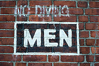 Restroom sign for men seen at  the NYC Dept. of Parks Lyons Pool in the New York borough of Staten Island on Saturday, June 15, 2013.  (© Frances M. Roberts)
