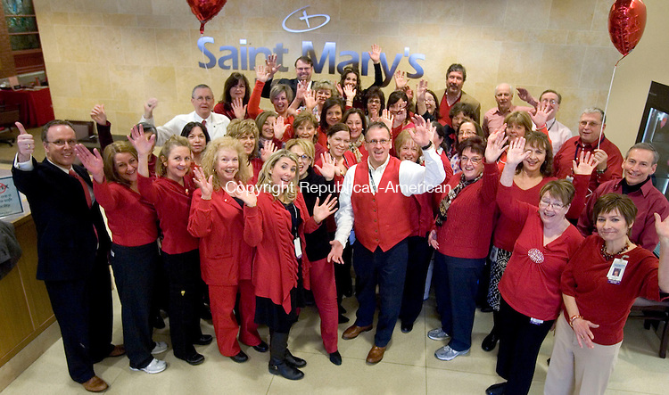 WATERBURY CT. 06 February 2015-020615SV01-Over 50 employees turned out of a photo while wearing red for heart disease awareness day at Saint Mary's Hospital in Waterbury Friday.<br /> Steven Valenti Republican-American