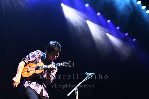 "Aug. 14, 2010 ; Osaka, JPN - Jake Shimabukuro during his sound check at Namba Hatch in Osaka. Opening night for the ""I Love Ukulele Tour 2010""."