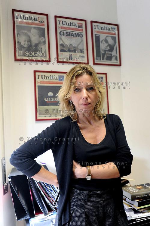 Roma, 22 Febbraio 2010.Concita De Gregorio, direttora del quotidiano  L'Unità, nel suo ufficio.Concita De Gregorio, director of the newspaper L'Unità , in her office