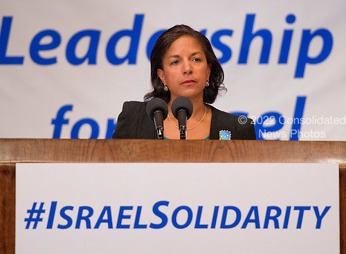 United States National Security Advisor Susan Rice makes remarks before the &ldquo;National Leadership Assembly for Israel,&rdquo; convened by the Conference of Presidents of Major American Jewish Organizations in Washington, D.C. on Monday, July 28, 2014.  The assembly attracted 600 Jewish leaders from around the country to let the people of Israel know that they are not alone, as they face the continuing onslaught of terrorist attacks, with missiles launched at civilian populations by Hamas and other terrorists in Gaza.<br /> Credit: Ron Sachs