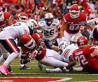 10/31/15<br /> Arkansas Democrat-Gazette/STEPHEN B. THORNTON<br /> Arkansas' Alex Collins dives in the end zone for the first of his four running touchdowns against UT Martin's during their game Saturday in Fayetteville.