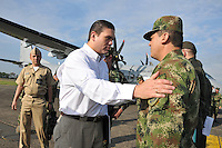 VILLAVICENCIO - COLOMBIA. 23-01-2014. Ministro de Defensa Juan Carlos Pinzon  presenta fuerte balance operacional donde destaca la neutralizacion de 56 miembros de las Farc y 6 del Eln en operaciones conjuntas y coordinadas entre las Fuerzas Militares y la Policia Nacional / Juan Carlos Pinzon  Minister of Defence has strong operational balance which highlights the neutralization of 56 members of the FARC and ELN 6 in joint operations coordinated between the Armed Forces and the National Police . Photo:VizzorImage / Mauricio Orjuela / Ministerio de Defensa Nacional