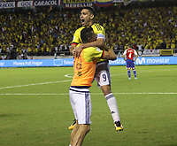 BARRANQUILLA - COLOMBIA -5-10-2017: Radamel Falcao jugador de Colombia celebra después de anotar un gol a Paraguay durante partido de la fecha 17 para la clasificación a la Copa Mundial de la FIFA Rusia 2018 jugado en el estadio Metropolitano Roberto Meléndez en Barranquilla. /  Radamel Falcao  player of Colombia celebrates after scoring a goal to Paraguay during match of the date 17 for the qualifier to FIFA World Cup Russia 2018 played at Metropolitan stadium Roberto Melendez in Barranquilla. Photo: Vizzorimage / Felipe Caicedo / Staff