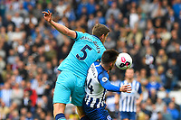 Jan Vertonghen of Tottenham Hotspur wins the ball from Aaron Connolly of Brighton and Hove Albion during Brighton & Hove Albion vs Tottenham Hotspur, Premier League Football at the American Express Community Stadium on 5th October 2019
