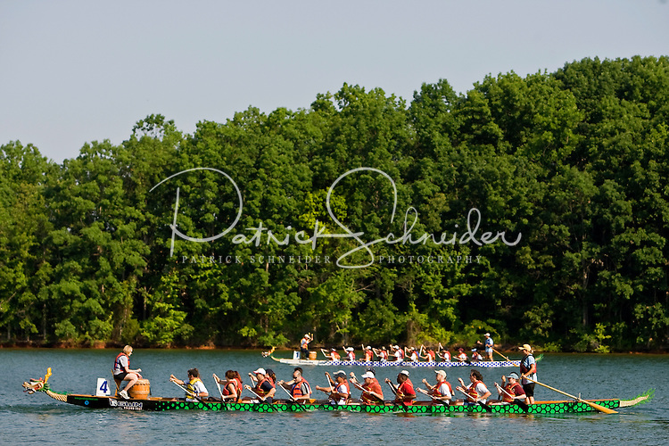 Riders participate during the Charlotte Dragonboat Association racing on Lake Norman in NC.