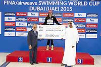 (L to R) Julio Maglione, FINA president; Katinka Hosszu HUN Winner 2015; Mohamed Al Falasi UAE Swimming President<br /> Winners of 2015 FINA Airweave Swimming World Cup 2015<br /> Dubai U.A.E  2015  Nov.6 th - 7th3 rd<br /> Day2 - Nov. 7 th fianls<br /> Photo G. Scala/Deepbluemedia