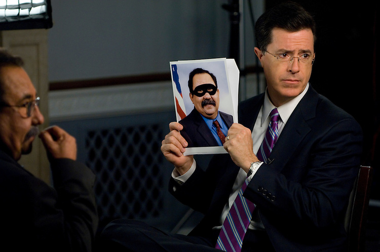 "Rep. Raul Grijalva, D-Ariz., tapes a segment of the ""Better Know A District"" for the Colbert Report with Stephen Colbert Friday, May 18, 2007, in the House Natural Resources Committee hearing room. Colbert was asking if the Congressman had any super hero powers."