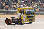 French driver Anthony Janiec belonging Portugese team Lion Truck Racing during the fist race R1 of the XXX Spain GP Camion of the FIA European Truck Racing Championship 2016 in Madrid. October 01, 2016. (ALTERPHOTOS/Rodrigo Jimenez)