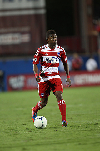 FRISCO, TX - SEPTEMBER 15: Fabian Castillo #7 of FC Dallas in action Vancouver FC at FC Dallas Stadium on September 15, 2012 in Frisco, Texas. (Photo by Rick Yeatts)