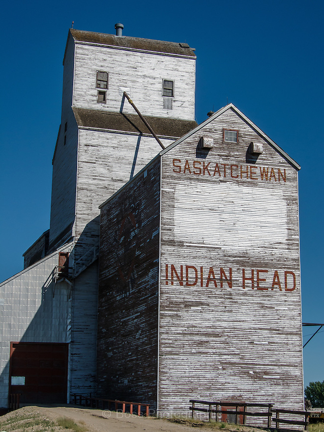 Old, weathered grain elevator in Indian Head, Saskatchewan