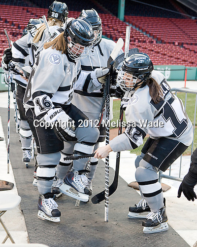 Ashley Cottrell (Providence - 16), Jessica Vella (Providence - 12) - The Dartmouth College Big Green defeated the Providence College Friars 3-2 on Tuesday, January 10, 2012, at Fenway Park in Boston, Massachusetts.