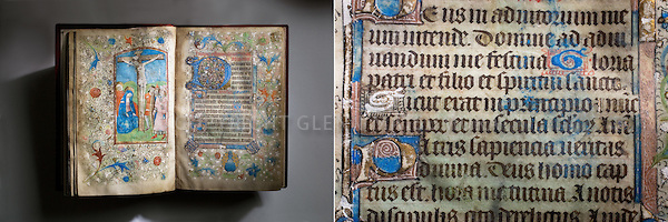Horae Beatae Mariae Virginis (late 1400's) book and detail. Stanford Archives.