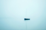 Sailboat in foggy weather, Cape Cod, Massachusetts, USA